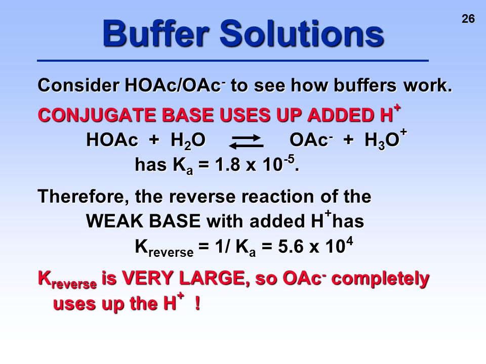 26 Consider HOAc/OAc - to see how buffers work. CONJUGATE BASE USES UP ADDED H + HOAc + H 2 O OAc - + H 3 O + has K a = 1.8 x 10 -5. Therefore, the re