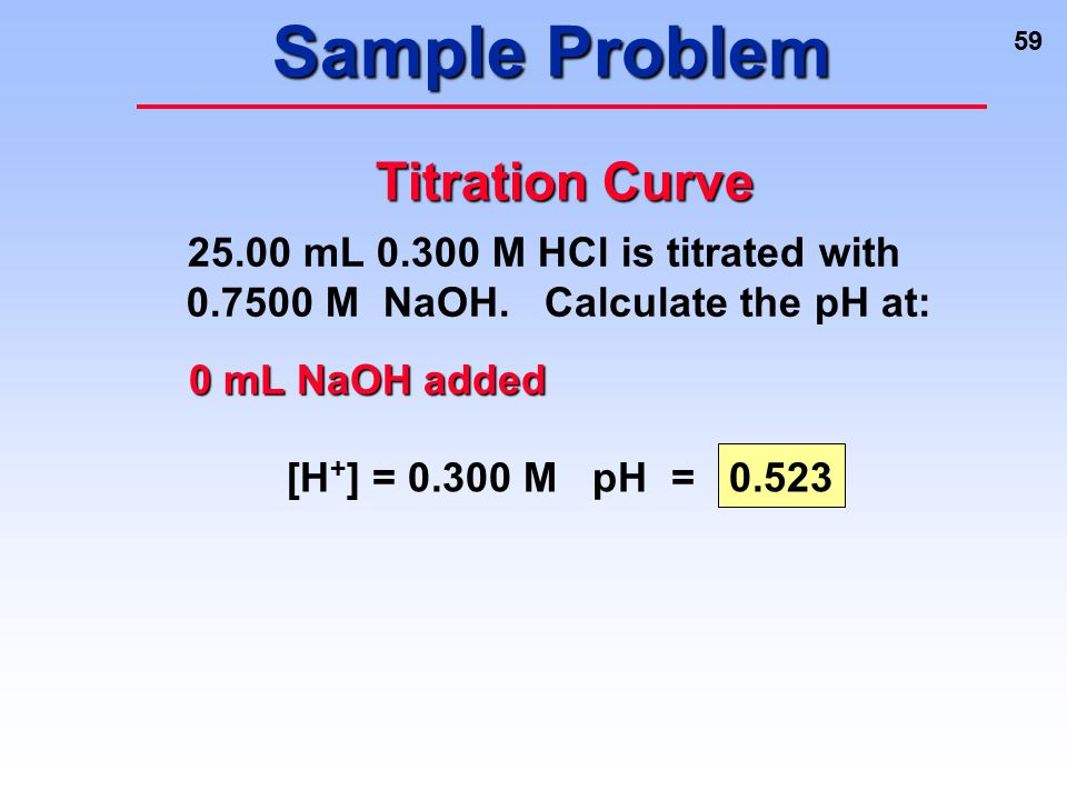59 Sample Problem [H + ] = 0.300 M pH = 0.523 0 mL NaOH added Titration Curve 25.00 mL 0.300 M HCl is titrated with 0.7500 M NaOH. Calculate the pH at