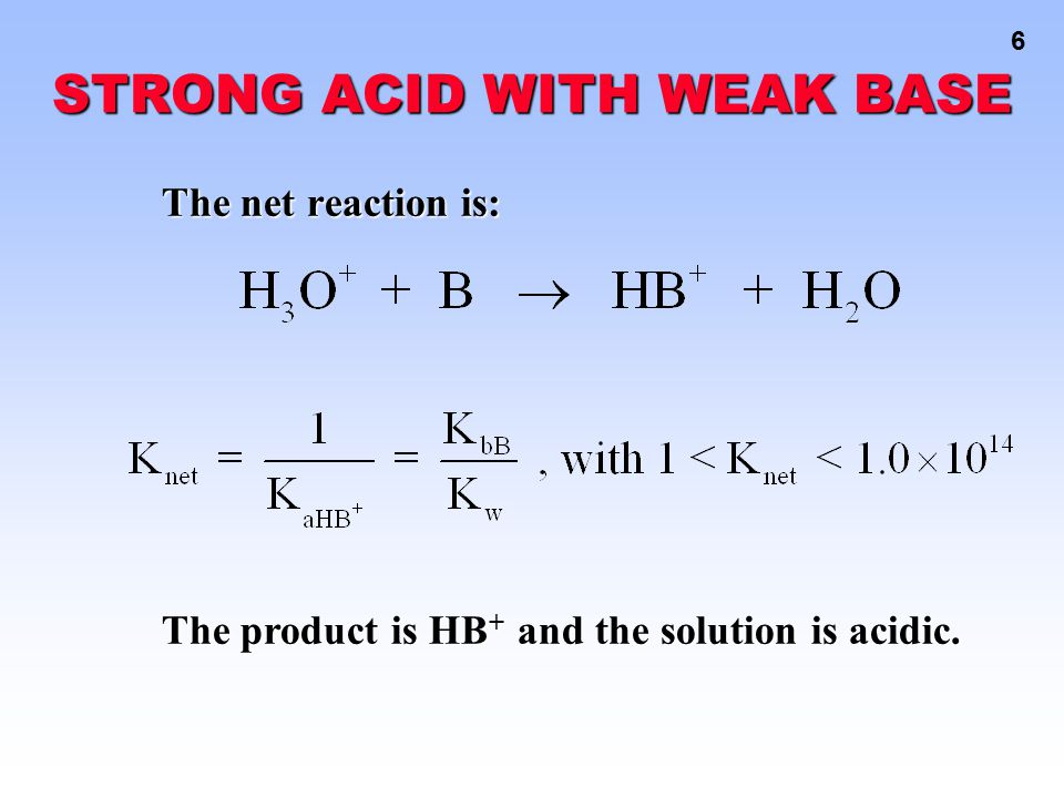 17 Acid-Base Reactions HBz + H 2 O H 3 O + + Bz - K a = 6.3 x 10 -5 [H 3 O + ] = { [HBz] / [Bz - ] } K a At the half-way point, [HBz] = [Bz - ], so [H 3 O + ] = K a = 6.3 x 10 -5 pH = 4.20 pH = 4.20 QUESTION: You titrate 100.
