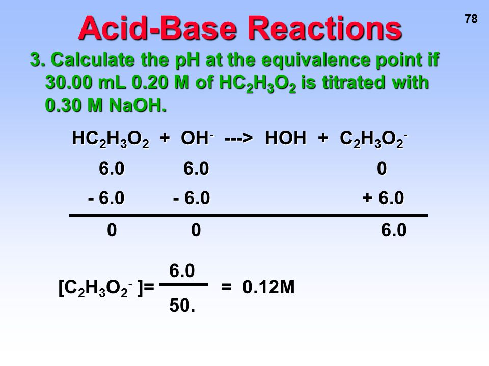 78 Acid-Base Reactions 3. Calculate the pH at the equivalence point if 30.00 mL 0.20 M of HC 2 H 3 O 2 is titrated with 0.30 M NaOH. HC 2 H 3 O 2 + OH