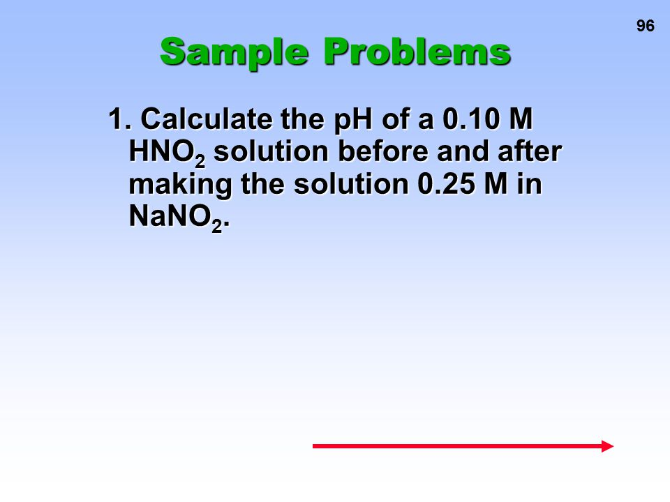 96 Sample Problems 1. Calculate the pH of a 0.10 M HNO 2 solution before and after making the solution 0.25 M in NaNO 2.