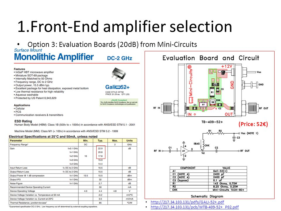 1.Front-End amplifier selection Option 3: Evaluation Boards (20dB) from Mini-Circuits (Price: 52€) http://217.34.103.131/pdfs/GALI-52+.pdf http://217.34.103.131/pcb/WTB-409-52+_P02.pdf