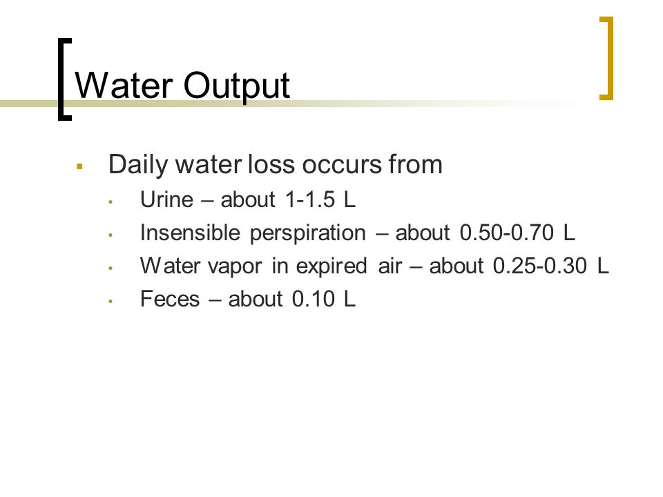 Water Output  Daily water loss occurs from Urine – about 1-1.5 L Insensible perspiration – about 0.50-0.70 L Water vapor in expired air – about 0.25-0.30 L Feces – about 0.10 L