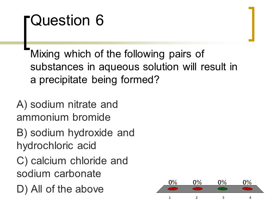 Question 7 Which of the following types of substances should be represented as separated ions in an ionic equation.