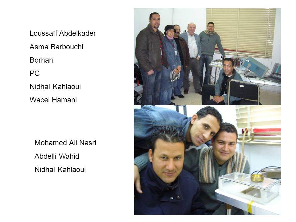 Loussaïf Abdelkader Asma Barbouchi Borhan PC Nidhal Kahlaoui Wacel Hamani Mohamed Ali Nasri Abdelli Wahid Nidhal Kahlaoui