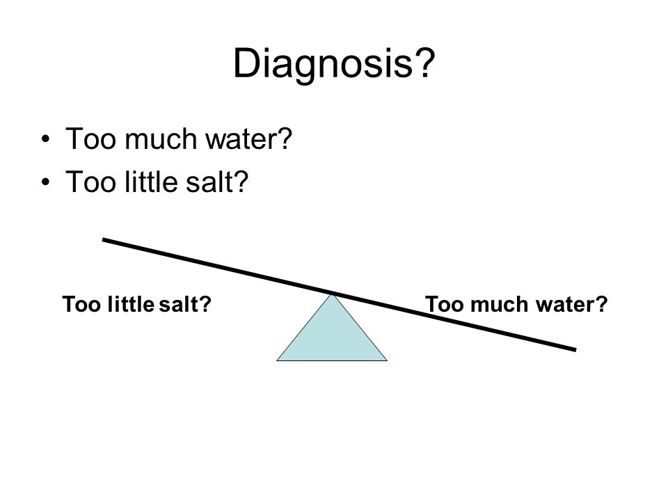 Diagnosis? Too much water? Too little salt? Too much water?Too little salt?