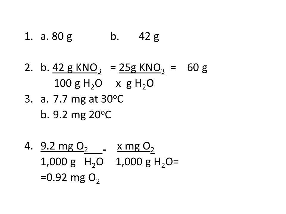 1.a. 80 gb.42 g 2.b. 42 g KNO 3 = 25g KNO 3 = 60 g 100 g H 2 O x g H 2 O 3.a.