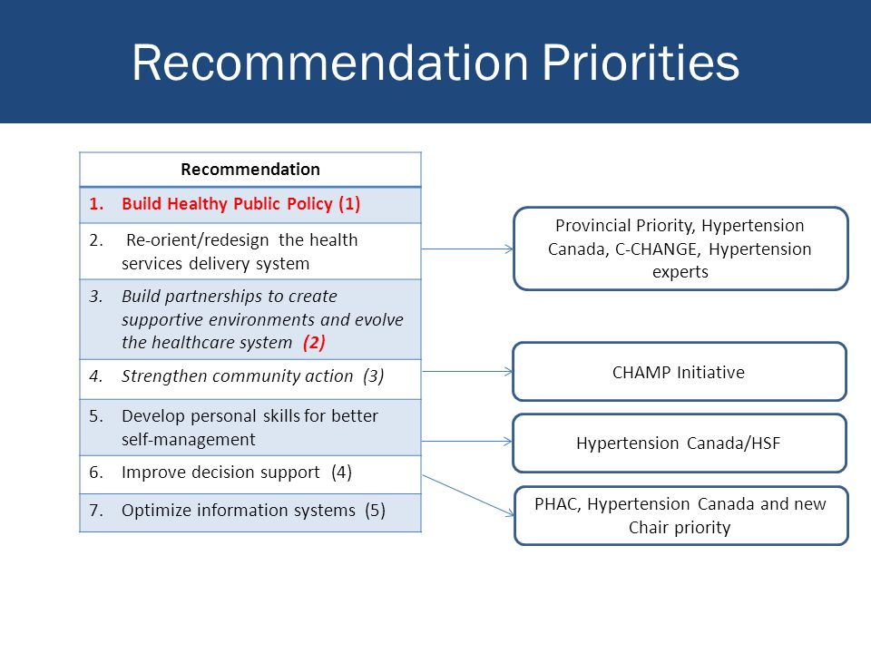 Recommendation Priorities Recommendation 1.Build Healthy Public Policy (1) 2.