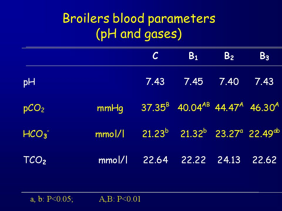 Broilers blood parameters (pH and gases)