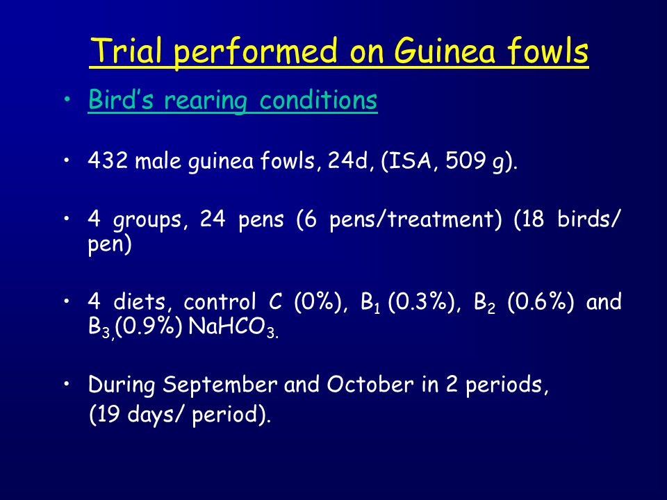 Trial performed on Guinea fowls Bird's rearing conditions 432 male guinea fowls, 24d, (ISA, 509 g). 4 groups, 24 pens (6 pens/treatment) (18 birds/ pe