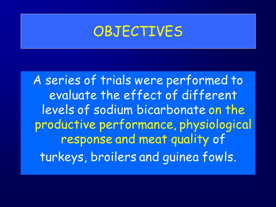 OBJECTIVES A series of trials were performed to evaluate the effect of different levels of sodium bicarbonate on the productive performance, physiolog