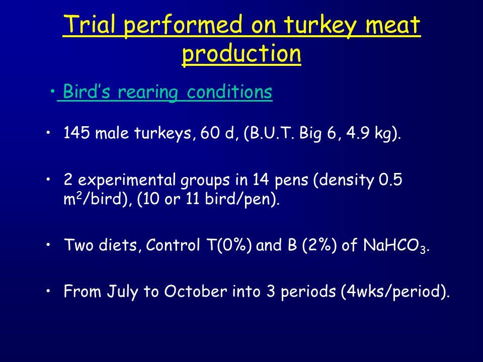 Trial performed on turkey meat production 145 male turkeys, 60 d, (B.U.T. Big 6, 4.9 kg). 2 experimental groups in 14 pens (density 0.5 m 2 /bird), (1