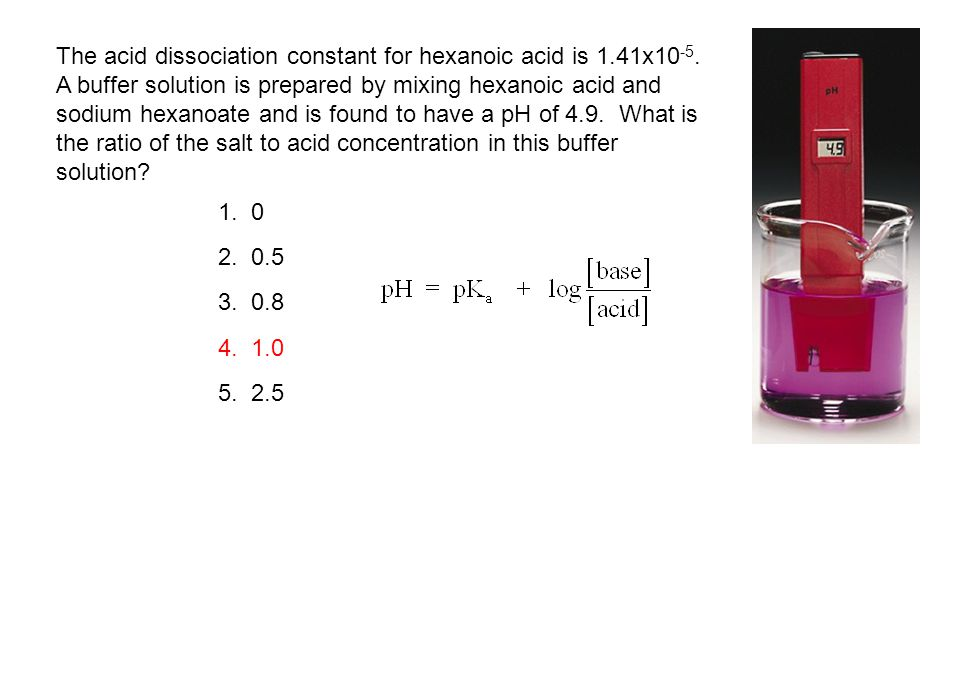 The acid dissociation constant for hexanoic acid is 1.41x10 -5. A buffer solution is prepared by mixing hexanoic acid and sodium hexanoate and is foun