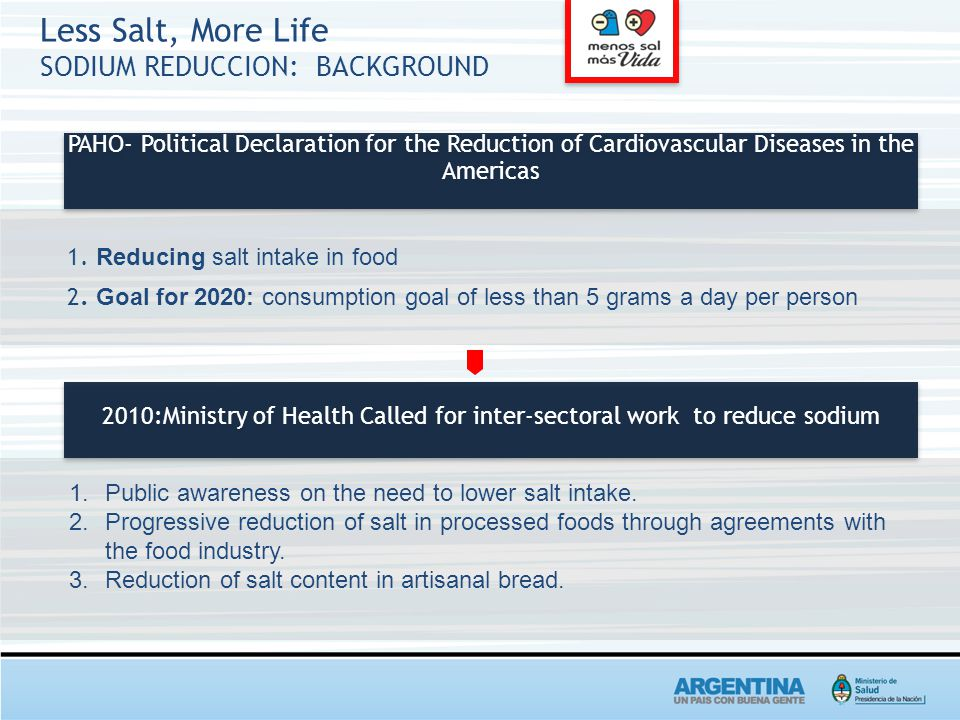Less Salt, More Life SODIUM REDUCCION: BACKGROUND 2010:Ministry of Health Called for inter-sectoral work to reduce sodium PAHO- Political Declaration for the Reduction of Cardiovascular Diseases in the Americas 1.