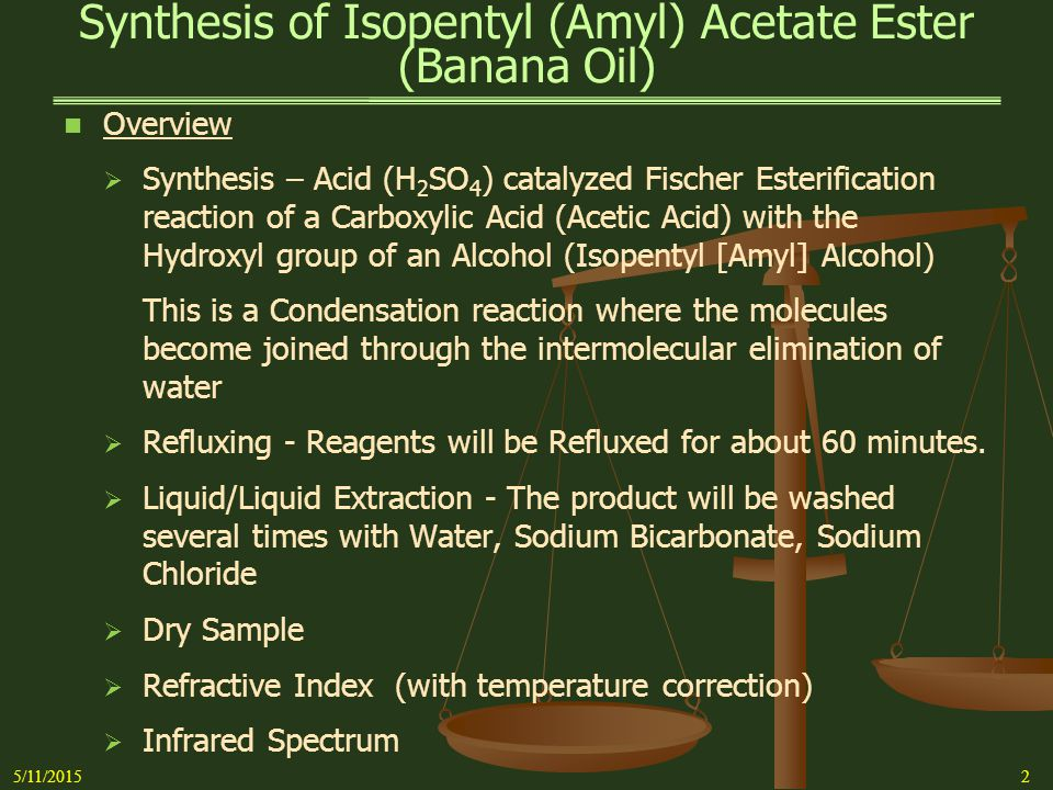 Synthesis of Isopentyl (Amyl) Acetate Ester (Banana Oil) 5/11/20153 The Laboratory Report:   Synthesis Experiment Mass, Moles, Molar Ratio, Limiting Reagent, Theoretical Yield   Procedures Title – Concise: Simple Distillation, Dry Sample, IR Spectrum, etc.