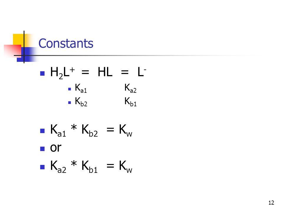 12 Constants H 2 L + = HL = L - K a1 K a2 K b2 K b1 K a1 * K b2 = K w or K a2 * K b1 = K w
