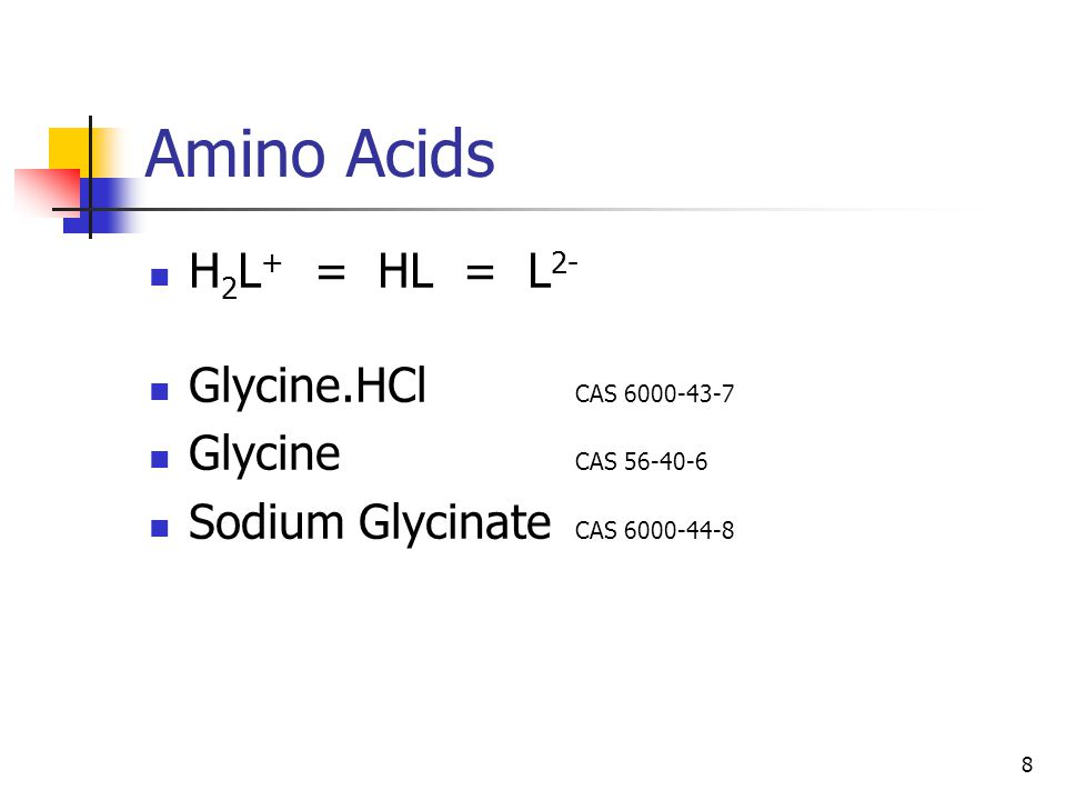 8 Amino Acids H 2 L + = HL = L 2- Glycine.HCl CAS 6000-43-7 Glycine CAS 56-40-6 Sodium Glycinate CAS 6000-44-8