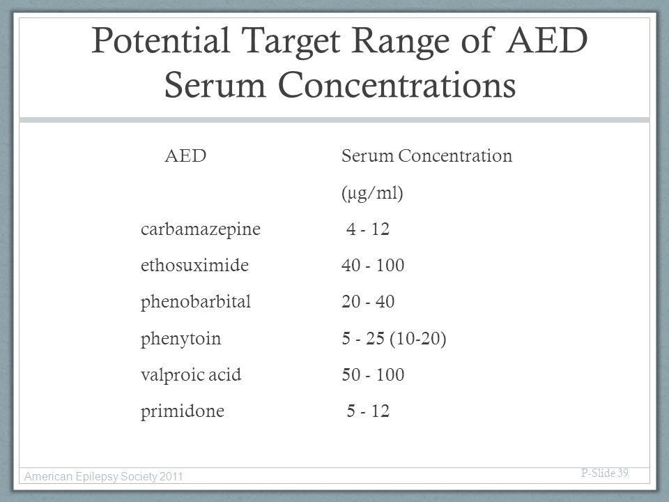 Potential Target Range of AED Serum Concentrations AED Serum Concentration (µg/ml) carbamazepine 4 - 12 ethosuximide40 - 100 phenobarbital20 - 40 phen