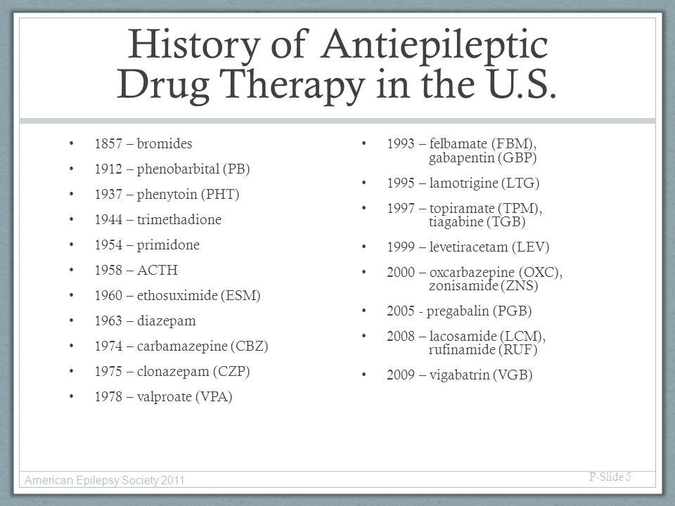 History of Antiepileptic Drug Therapy in the U.S. 1857 – bromides 1912 – phenobarbital (PB) 1937 – phenytoin (PHT) 1944 – trimethadione 1954 – primido