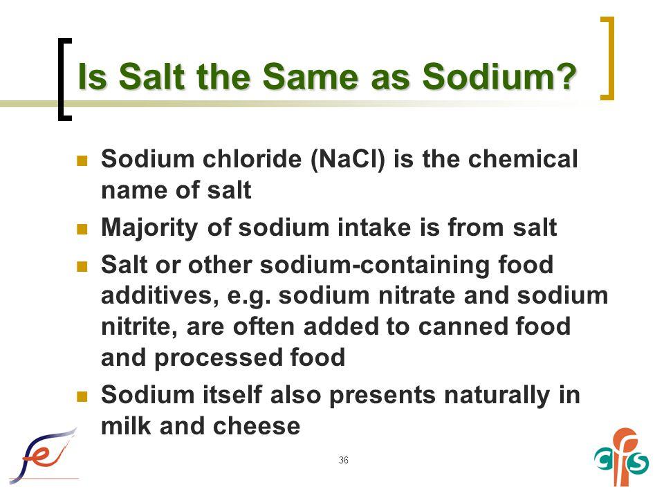 36 Is Salt the Same as Sodium.