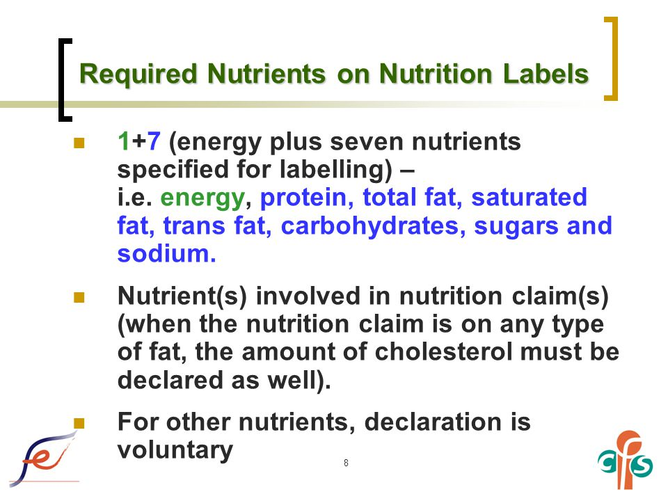 8 Required Nutrients on Nutrition Labels 1+7 (energy plus seven nutrients specified for labelling) – i.e.
