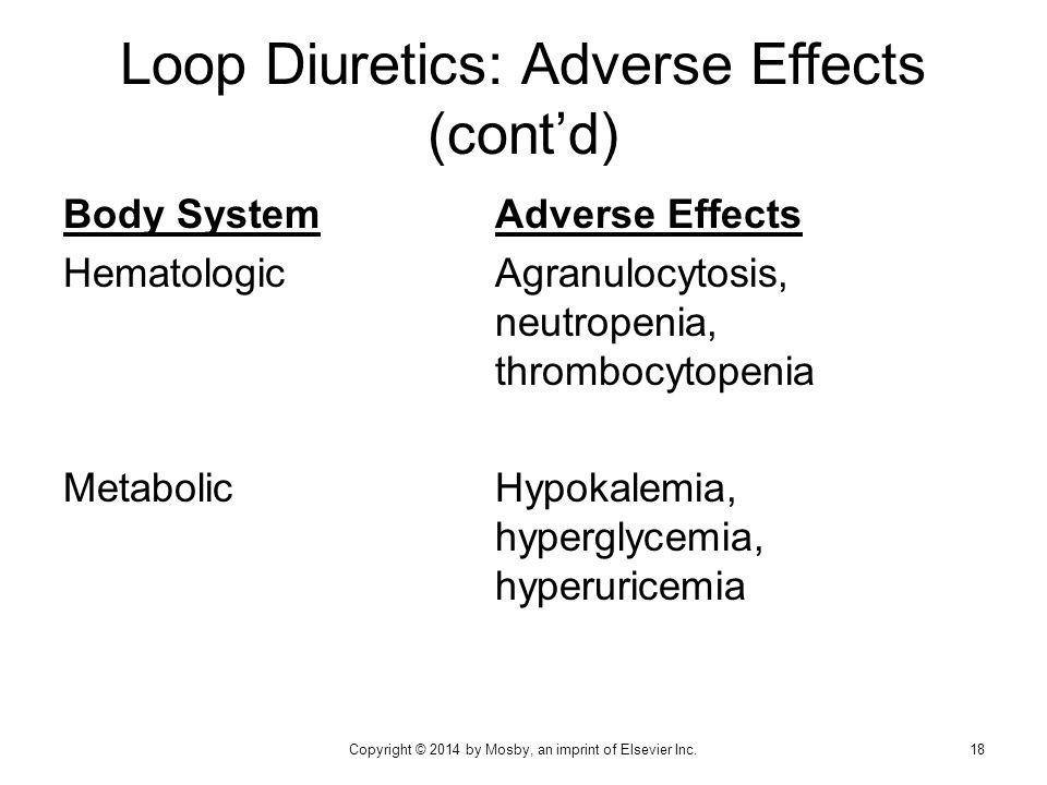 Body SystemAdverse Effects HematologicAgranulocytosis, neutropenia, thrombocytopenia MetabolicHypokalemia, hyperglycemia, hyperuricemia Loop Diuretics