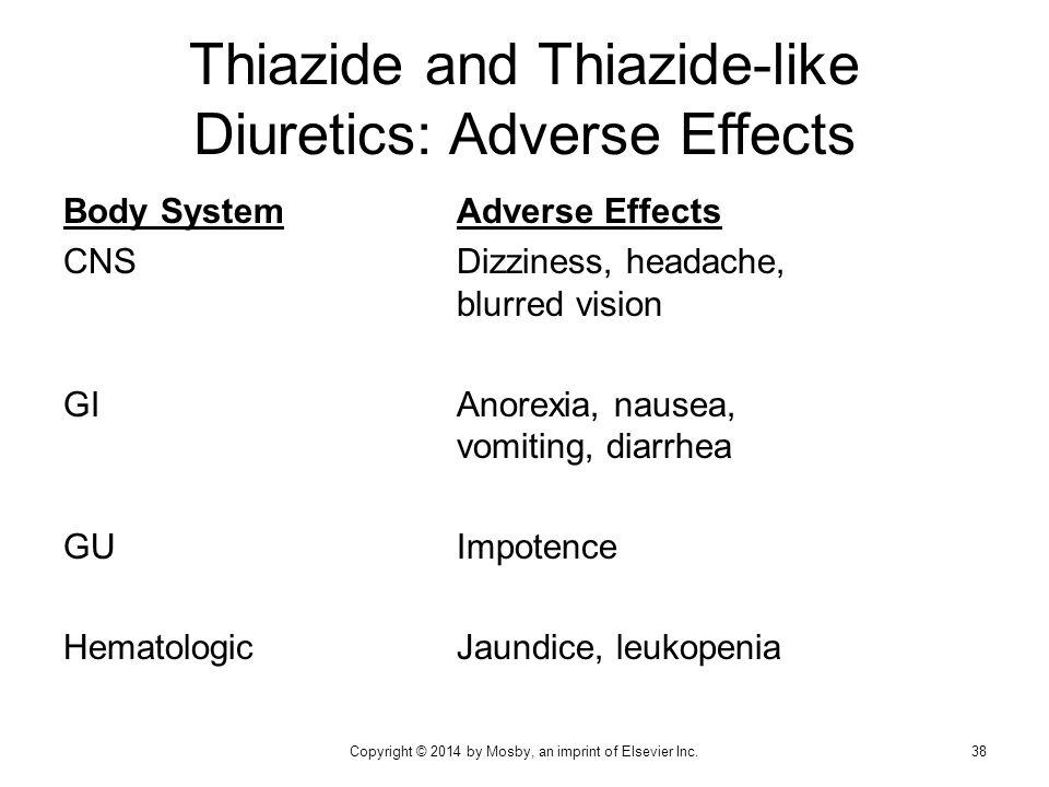 Body SystemAdverse Effects CNSDizziness, headache, blurred vision GIAnorexia, nausea, vomiting, diarrhea GUImpotence HematologicJaundice, leukopenia T