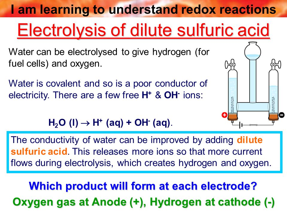I am learning to understand redox reactions Electrolysis of dilute sulfuric acid Which product will form at each electrode.
