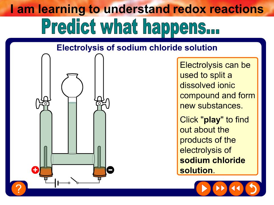 I am learning to understand redox reactions Summary notes Brine is a solution of sodium chloride in water.