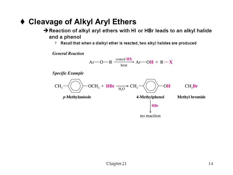 Chapter 2114  Cleavage of Alkyl Aryl Ethers  Reaction of alkyl aryl ethers with HI or HBr leads to an alkyl halide and a phenol  Recall that when a