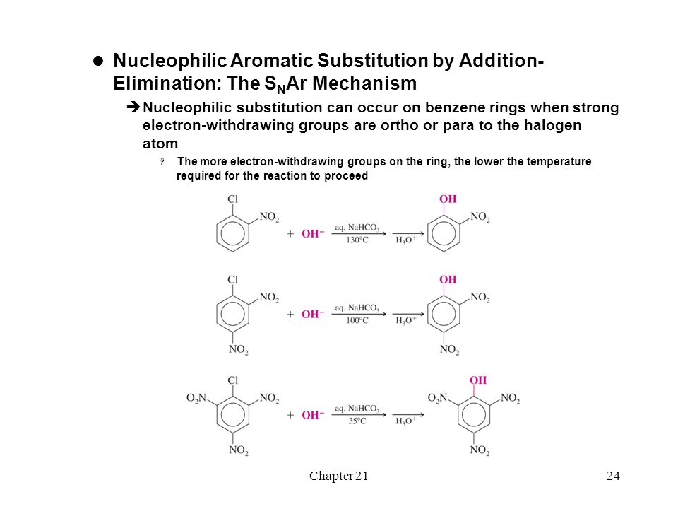Chapter 2124 Nucleophilic Aromatic Substitution by Addition- Elimination: The S N Ar Mechanism  Nucleophilic substitution can occur on benzene rings