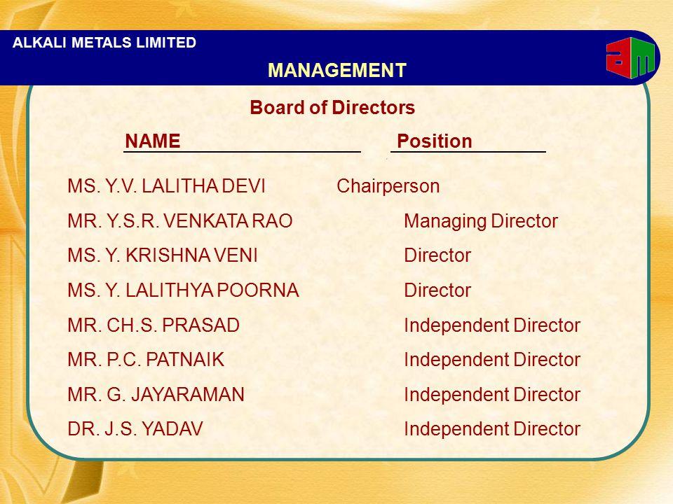ALKALI METALS LIMITED Board of Directors NAME Position MS. Y.V. LALITHA DEVIChairperson MR. Y.S.R. VENKATA RAOManaging Director MS. Y. KRISHNA VENIDir