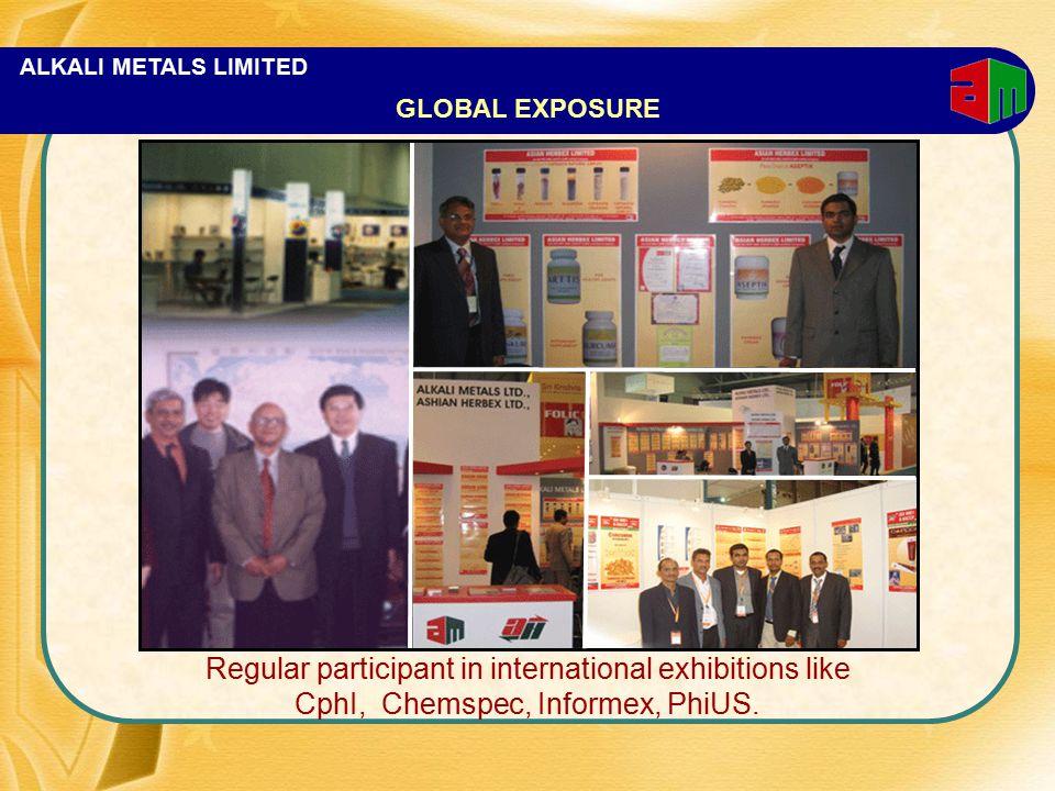 ALKALI METALS LIMITED Regular participant in international exhibitions like CphI, Chemspec, Informex, PhiUS.