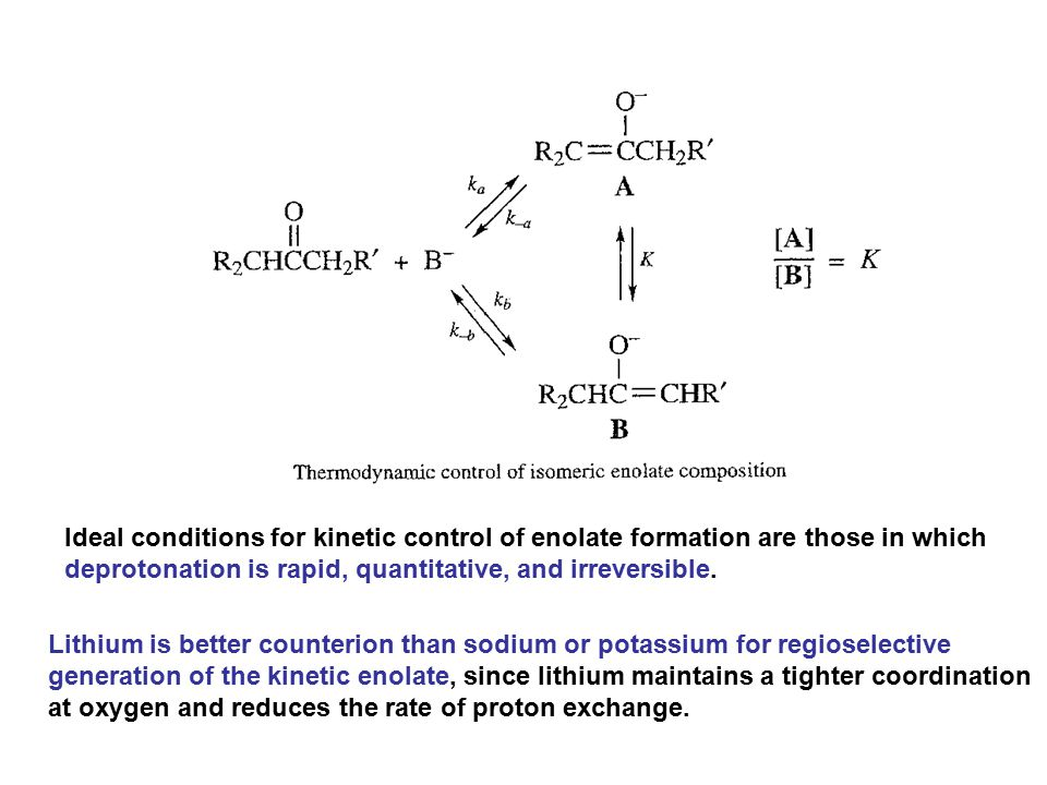 Ideal conditions for kinetic control of enolate formation are those in which deprotonation is rapid, quantitative, and irreversible. Lithium is better