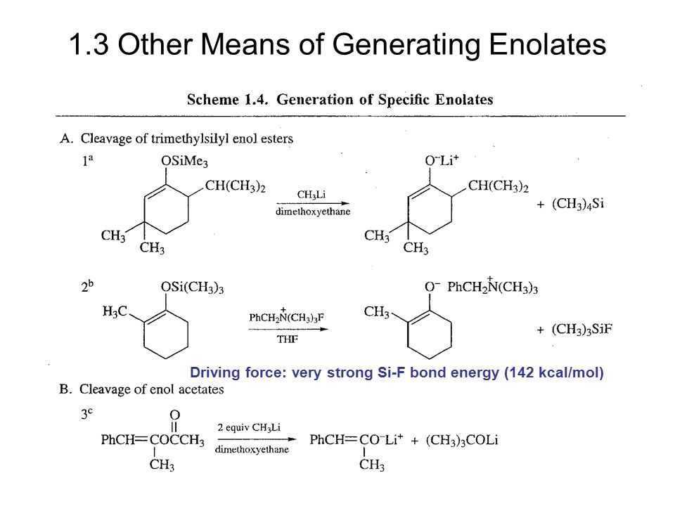 1.3 Other Means of Generating Enolates Driving force: very strong Si-F bond energy (142 kcal/mol)