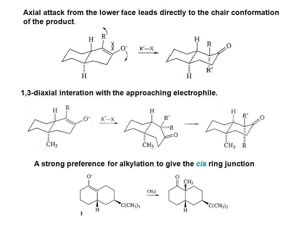 Axial attack from the lower face leads directly to the chair conformation of the product. 1,3-diaxial interation with the approaching electrophile. A