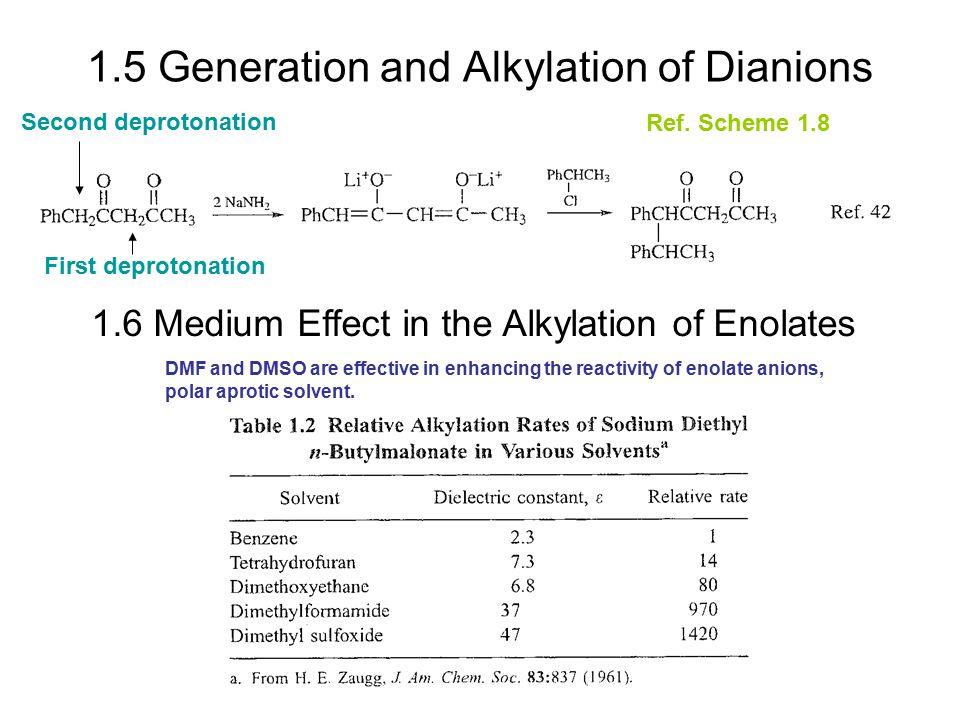1.5 Generation and Alkylation of Dianions 1.6 Medium Effect in the Alkylation of Enolates First deprotonation Second deprotonation Ref. Scheme 1.8 DMF