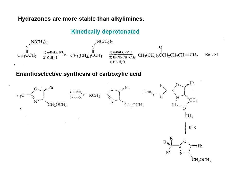 Hydrazones are more stable than alkylimines. Kinetically deprotonated Enantioselective synthesis of carboxylic acid