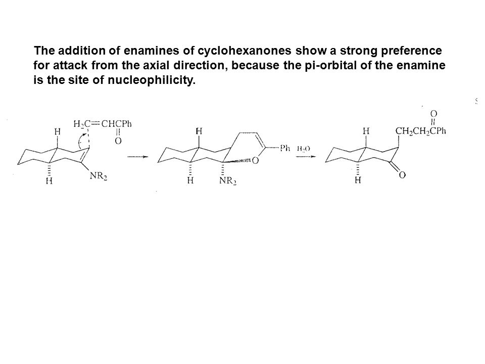 The addition of enamines of cyclohexanones show a strong preference for attack from the axial direction, because the pi-orbital of the enamine is the