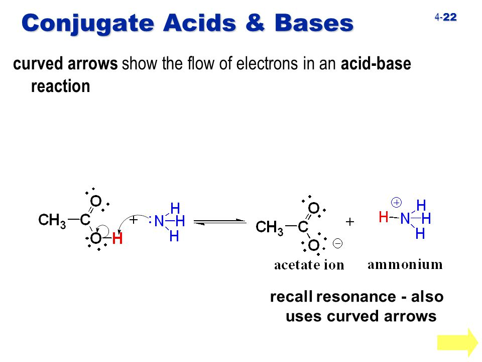 4- 22 Conjugate Acids & Bases curved arrows show the flow of electrons in an acid-base reaction recall resonance - also uses curved arrows