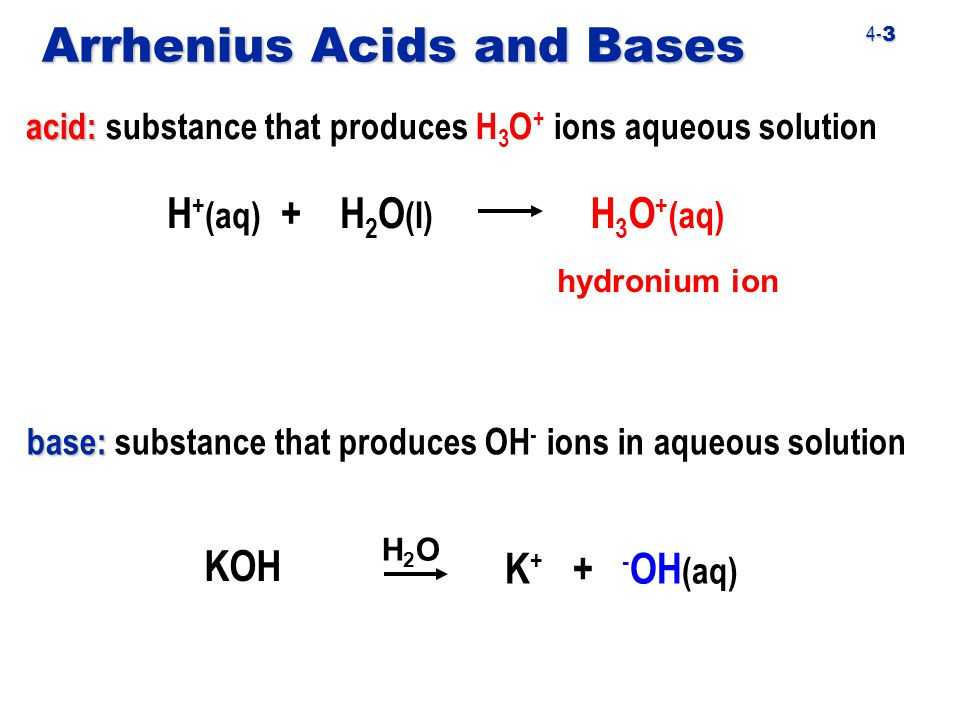 4- 3 Arrhenius Acids and Bases acid: acid: substance that produces H 3 O + ions aqueous solution H + (aq) + H 2 O (I) H 3 O + (aq) hydronium ion base: base: substance that produces OH - ions in aqueous solution KOH K + + - OH (aq) H2OH2O