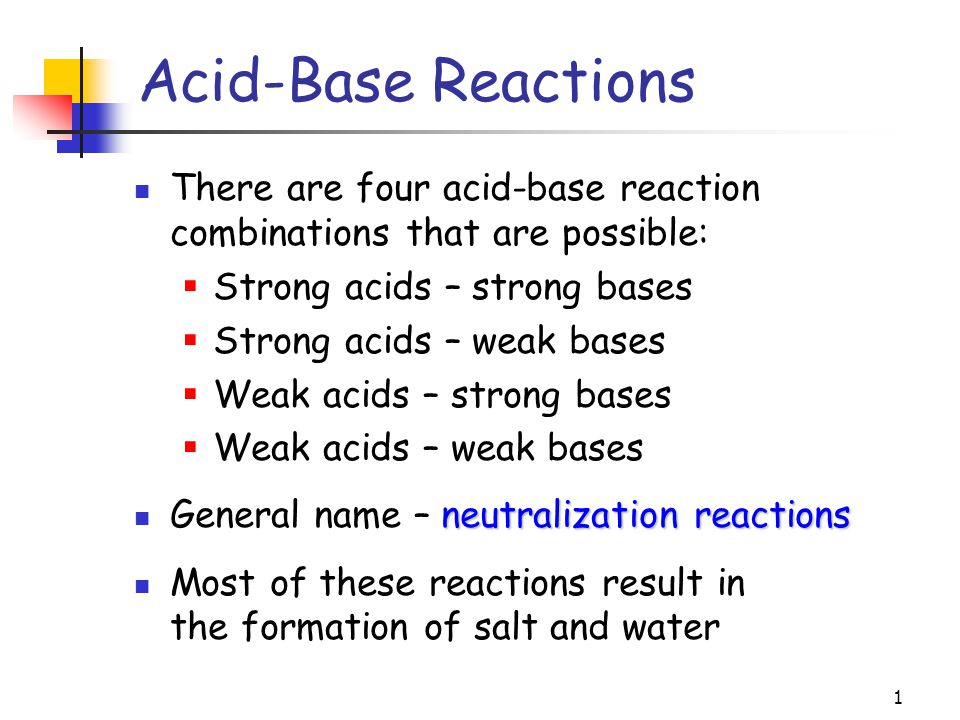 1 There are four acid-base reaction combinations that are possible:  Strong acids – strong bases  Strong acids – weak bases  Weak acids – strong ba