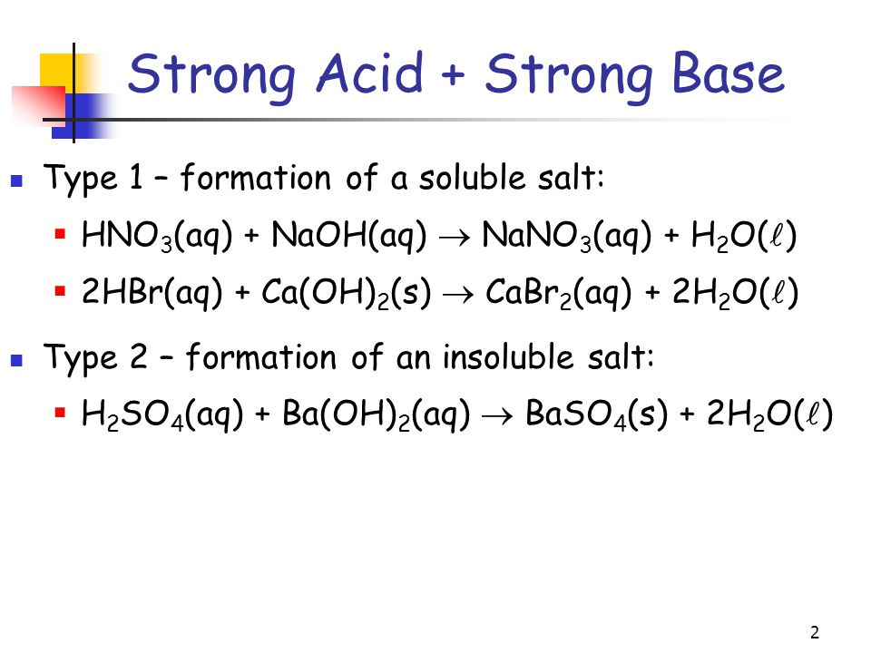 2 Type 1 – formation of a soluble salt:  HNO 3 (aq) + NaOH(aq)  NaNO 3 (aq) + H 2 O( )  2HBr(aq) + Ca(OH) 2 (s)  CaBr 2 (aq) + 2H 2 O( ) Type 2 – formation of an insoluble salt:  H 2 SO 4 (aq) + Ba(OH) 2 (aq)  BaSO 4 (s) + 2H 2 O( ) Strong Acid + Strong Base