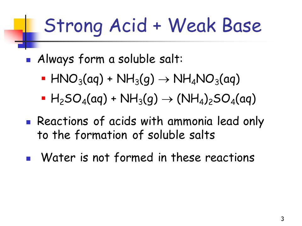 3 Always form a soluble salt:  HNO 3 (aq) + NH 3 (g)  NH 4 NO 3 (aq)  H 2 SO 4 (aq) + NH 3 (g)  (NH 4 ) 2 SO 4 (aq) Reactions of acids with ammoni