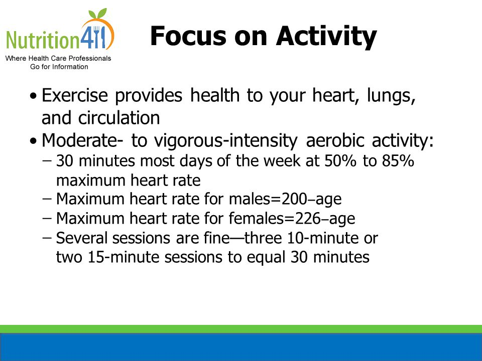 Focus on Activity Exercise provides health to your heart, lungs, and circulation Moderate- to vigorous-intensity aerobic activity: ̶30 minutes most days of the week at 50% to 85% maximum heart rate ̶Maximum heart rate for males=200 ‒ age ̶Maximum heart rate for females=226 ‒ age ̶Several sessions are fine—three 10-minute or two 15-minute sessions to equal 30 minutes