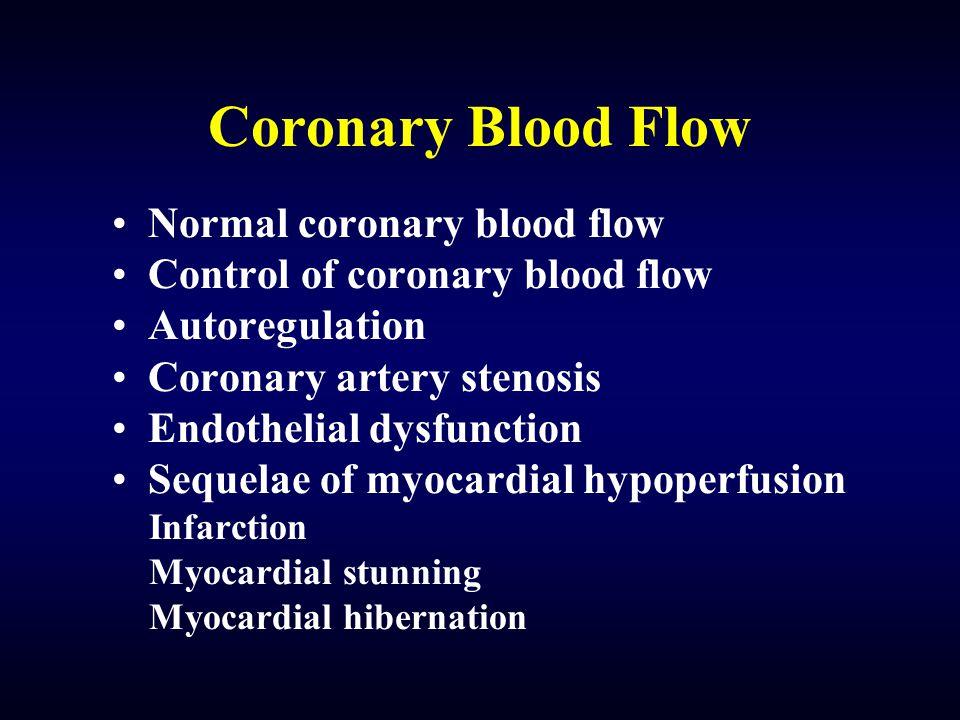 Coronary Blood Flow Normal coronary blood flow Control of coronary blood flow Autoregulation Coronary artery stenosis Endothelial dysfunction Sequelae