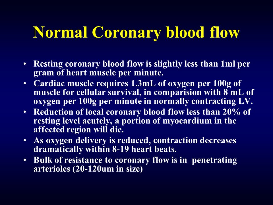 Normal Coronary blood flow Resting coronary blood flow is slightly less than 1ml per gram of heart muscle per minute.