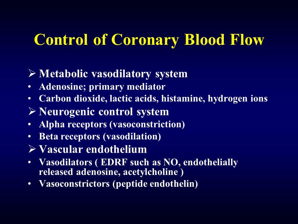 Control of Coronary Blood Flow  Metabolic vasodilatory system Adenosine; primary mediator Carbon dioxide, lactic acids, histamine, hydrogen ions  Ne