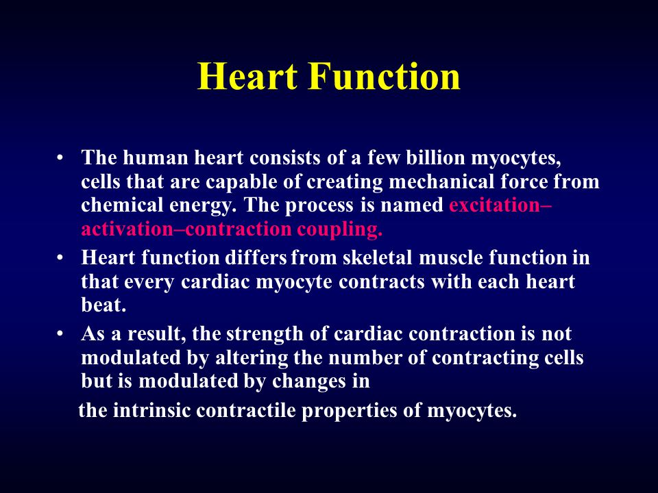 Heart Function The human heart consists of a few billion myocytes, cells that are capable of creating mechanical force from chemical energy.