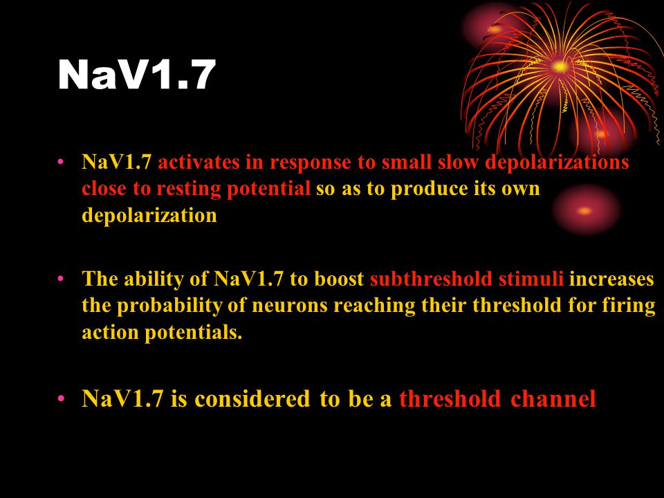 NaV1.7 NaV1.7 activates in response to small slow depolarizations close to resting potential so as to produce its own depolarization The ability of NaV1.7 to boost subthreshold stimuli increases the probability of neurons reaching their threshold for firing action potentials.